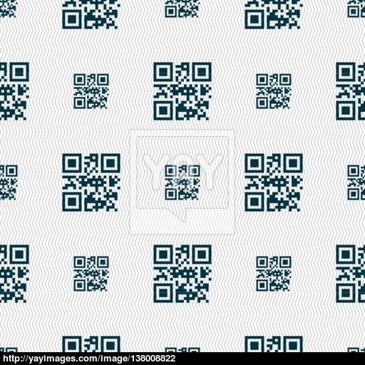 Qr Code Icon Sign Seamless Pattern With Geometric Texture Vector