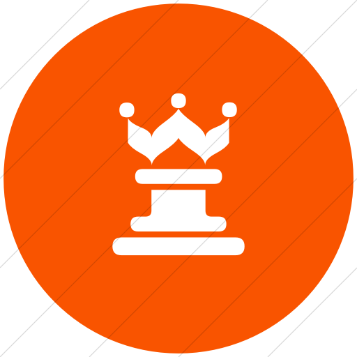 Flat Circle White On Orange Classica Queen Chess Piece Icon