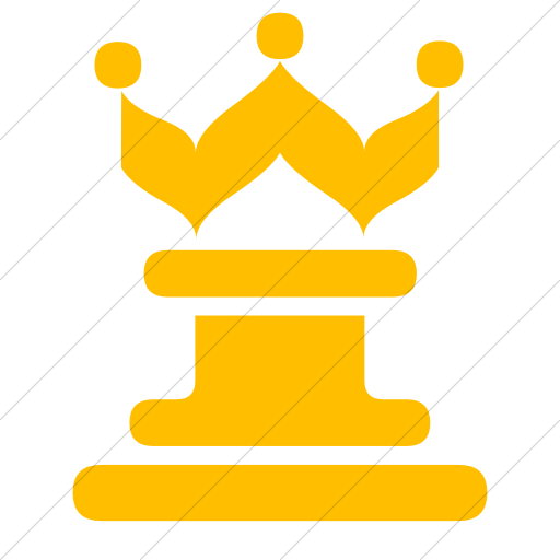 Simple Yellow Classica Queen Chess Piece Icon