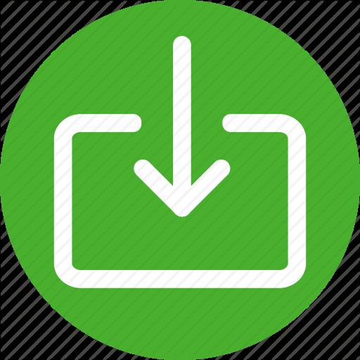 Circle, Download, File, Guardar, Import, Include, Queue Icon