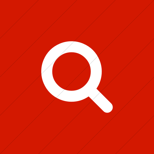 Flat Square White On Red Bootstrap Font Awesome Search Icon