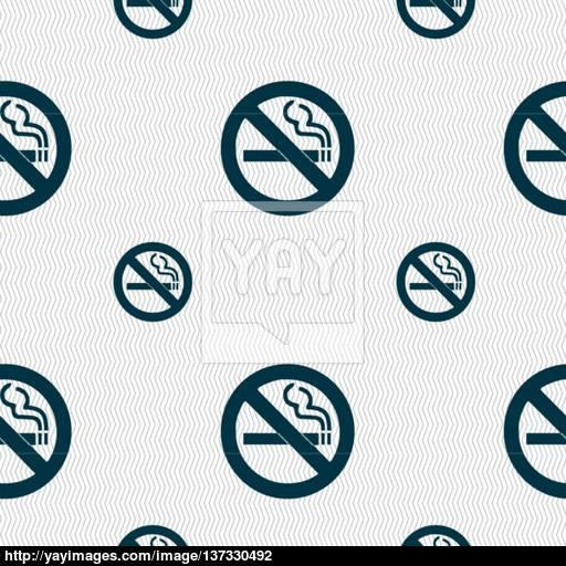 No Smoking Icon Sign Seamless Pattern With Geometric Texture