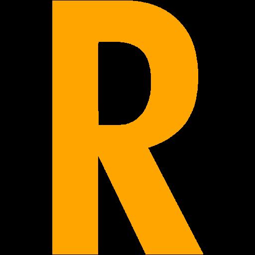 Orange Letter R Icon