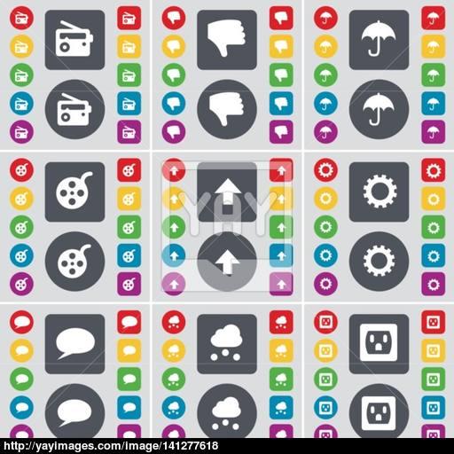 Radio, Dislike, Umbrella, Videotape, Arrow Up, Gear, Chat Bubble