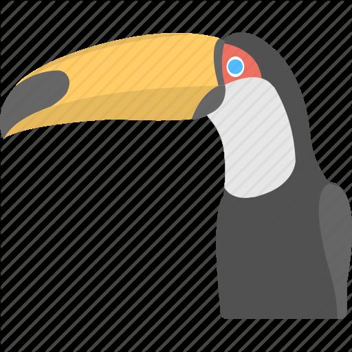 Black Bird, Jagged Beak, Rainforest Bird, Toucan, Yellow Beak Icon