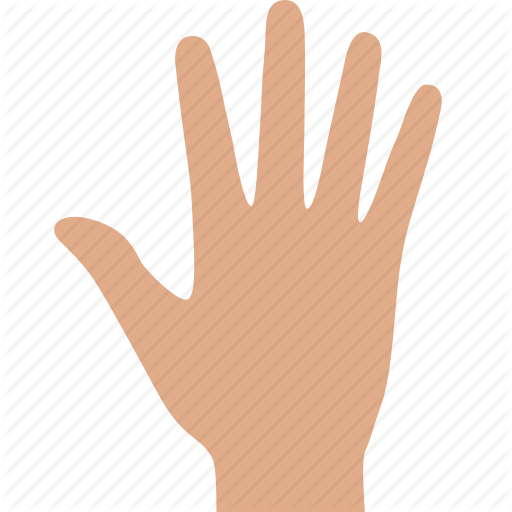Fingers, Gesture, Hand, Palm, Prehensile, Raised, White Icon