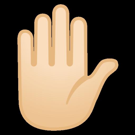 Raised Hand Light Skin Tone Icon Noto Emoji People Bodyparts