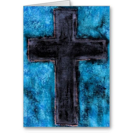 A Blank Greeting Card Featuring The Image Painted Cross