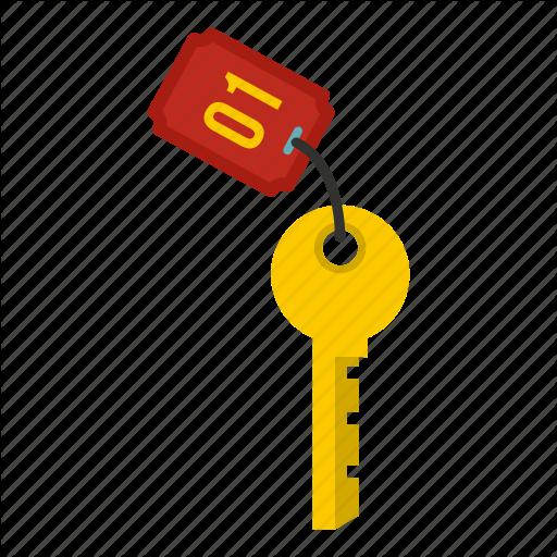 Door, Hotel, Key, Number, Realistic, Room, Travel Icon