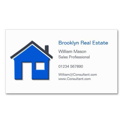 Simple Blue Gray Home Icon Realtor Card Business Card Templates