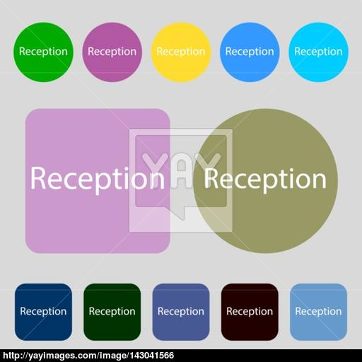 Reception Sign Icon Hotel Registration Table Symbol Colored