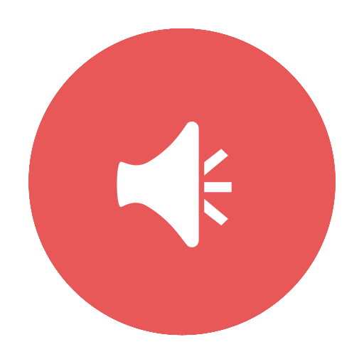 Red, News, Announcement, Alert, Audio, Circular Icon