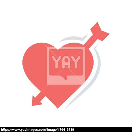 Valentines Heart Arrow Red Icon Vector