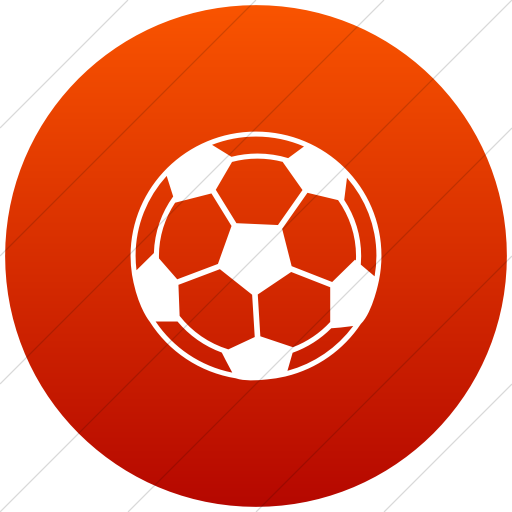 Flat Circle White On Red Gradient Classica Soccer Ball Icon