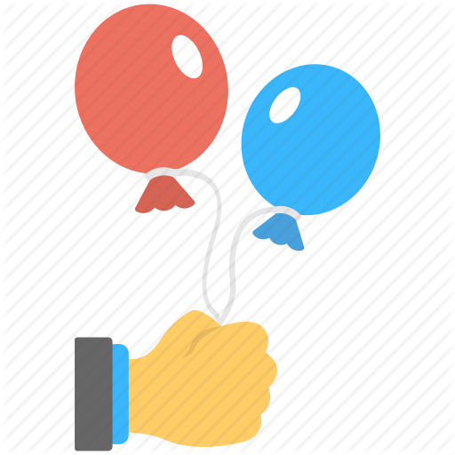 Balloons, Blue Balloon, Holding Balloons, Red Balloon, Two