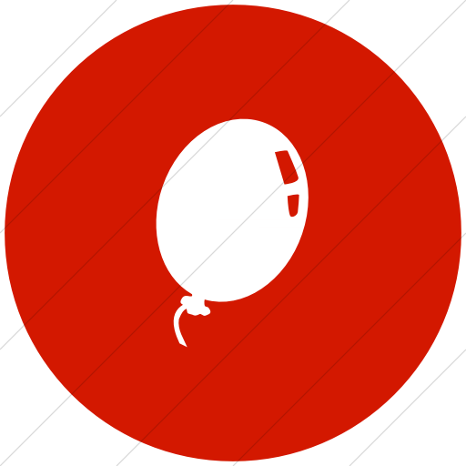 Flat Circle White On Red Classica Balloon Icon