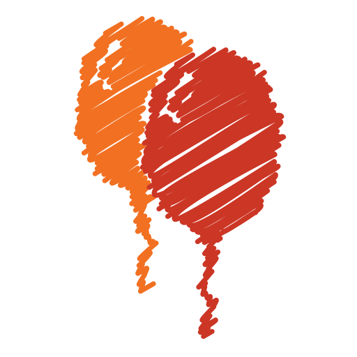 Orange, Birthday, Scribble, Red, Party, Balloon, Baloon Icon