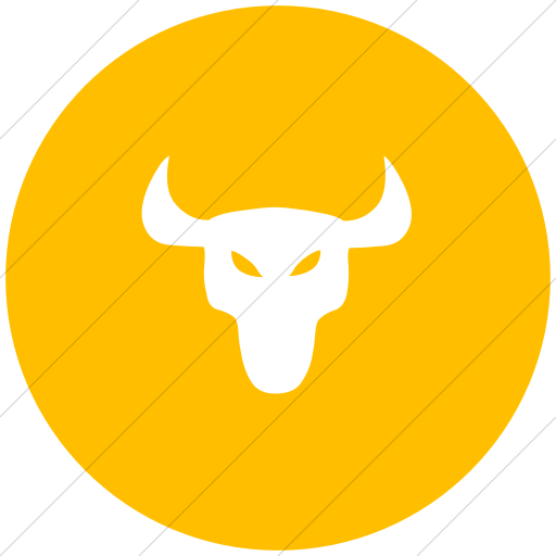 Flat Circle White On Yellow Animals Bull Icon