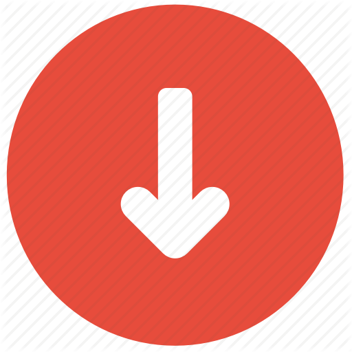 Arrow, Bottom, Direction, Down, Red Icon