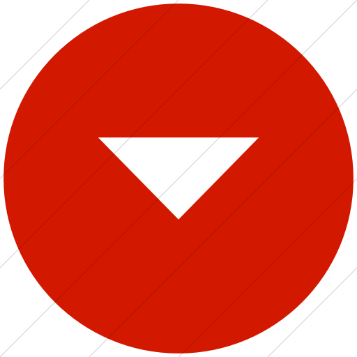Flat Circle White On Red Classica Volume Down Arrow Icon