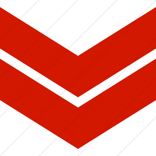 Simple Red Classic Arrows Double Chevron Down Icon