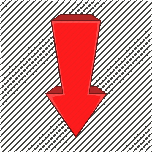 Red Left Down Arrow Icon Cartoon Vector