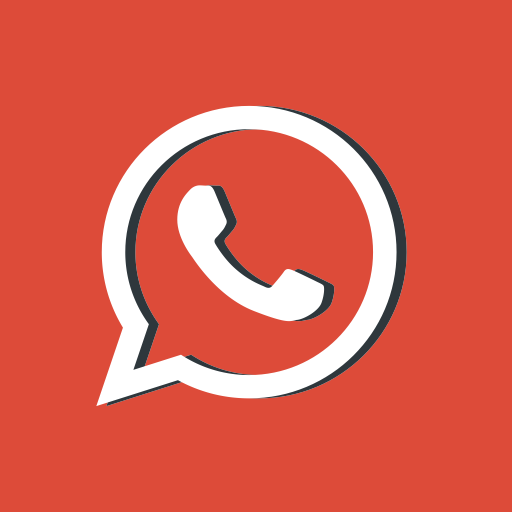 Red, Message, Social Media, Whatsapp, Network, Logotype Icon