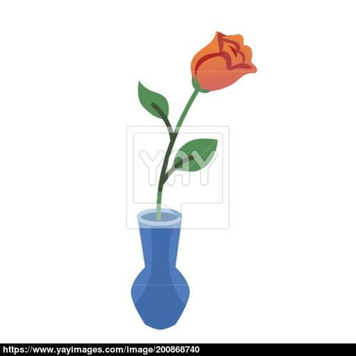 Vector Flat Style Illustration Of Vase With Red Rose Icon For Web