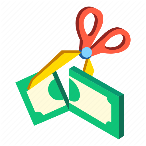 Budget, Costs, Cut, Expenses, Isometric, Reduce, Reduction Icon