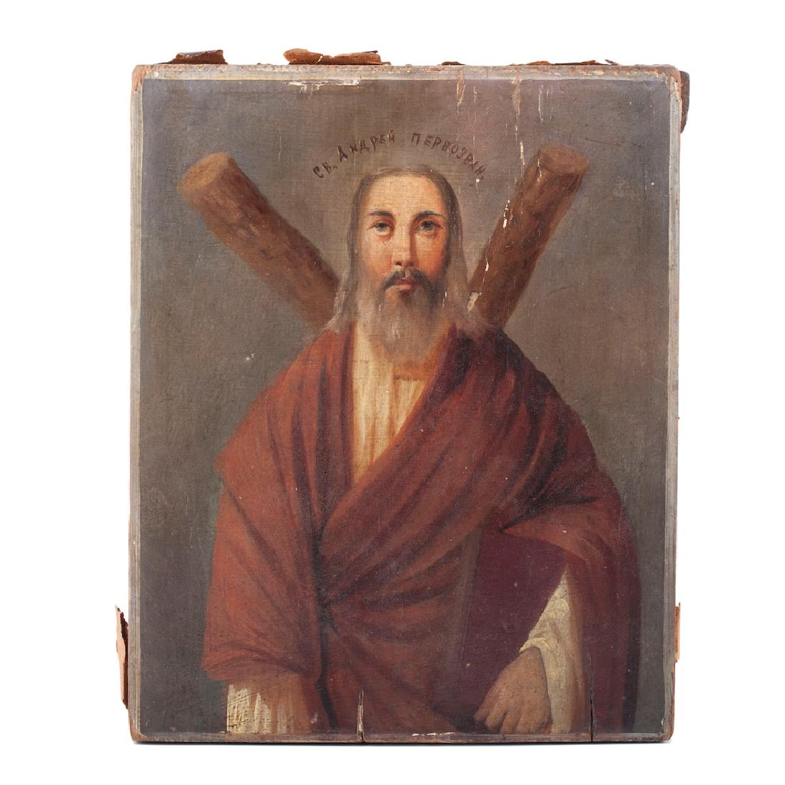 Russian Oil Painted On Wood Icon Of St Andrew