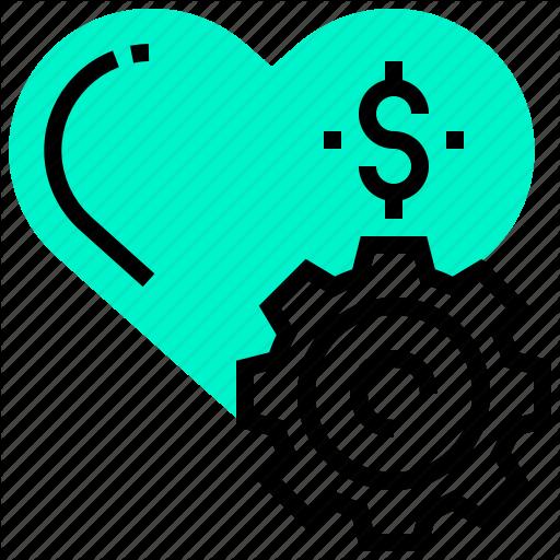 Dollar, Gear, Heart, Love, Money, Relationship Icon