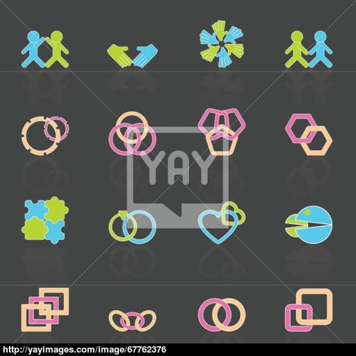 Link And Relationship Icons With Reflect Vector