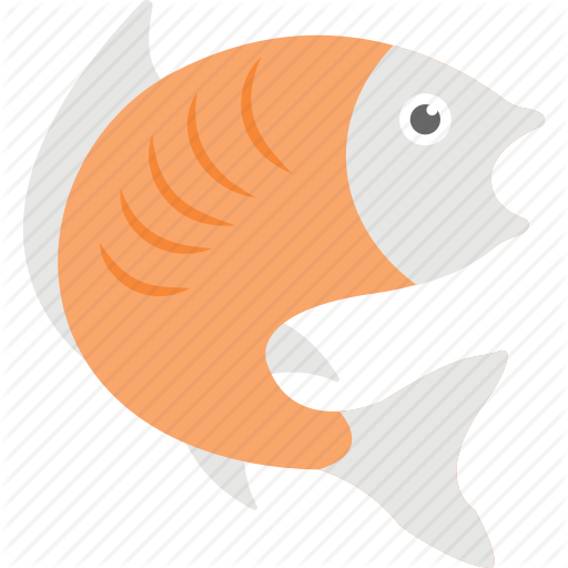 Fish, Fishing Symbol, Round Form Fish, Seafood, Turning Fish Icon