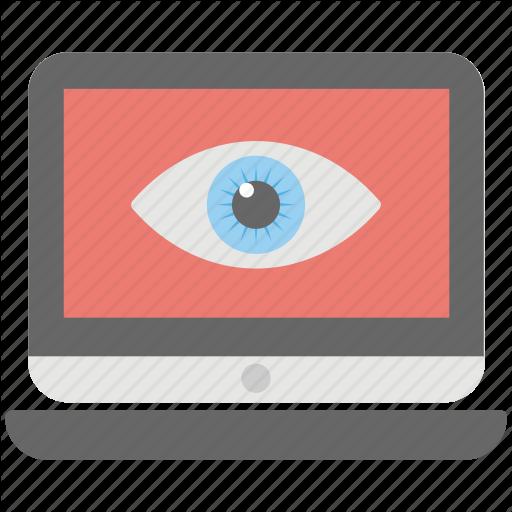 Digital Security, Laptop Eye, Online Presence, Remote Monitoring