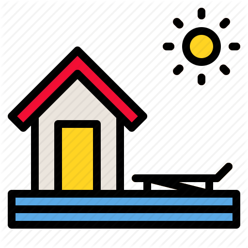Bungalow, Hotel, House, Resort, Sea Icon