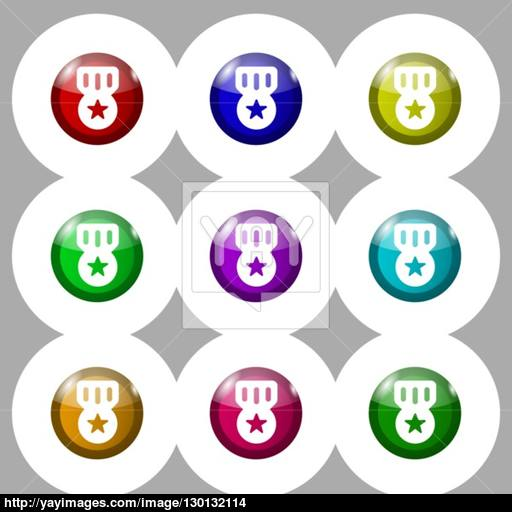 Award, Medal Of Honor Icon Sign Symbol On Nine Round Colourful