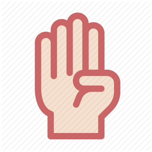 Finger, Four, Gesture, Hand, Respect Icon