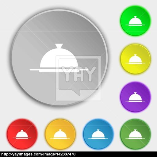 Food Platter Serving Sign Icon Table Setting In Restaurant Symbol