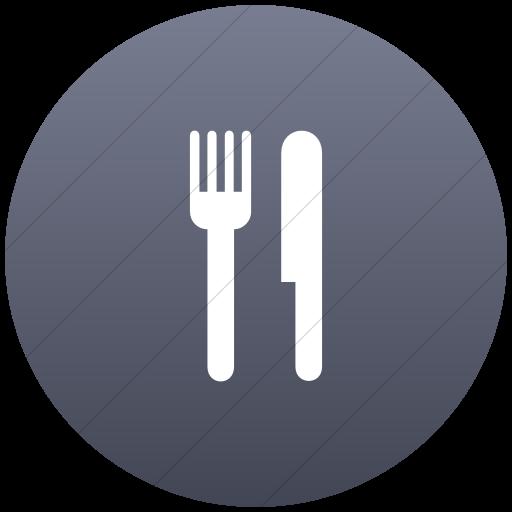 Flat Circle White On Blue Gray Gradient Aiga Restaurant