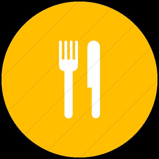 Flat Circle White On Yellow Aiga Restaurant Icon