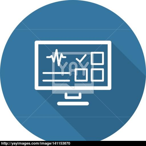 Online Survey Results And Medical Services Icon Flat Design Lo