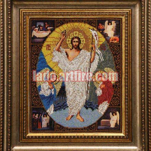 Resurrection Icon, Religious Picture, Bead Embroidery Needlework