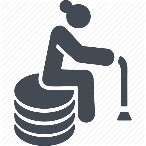 Cane, Old Woman, Pension, Retirement Savings Icon