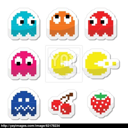 Pacman And Ghosts Retro Computer Game Icons Vector