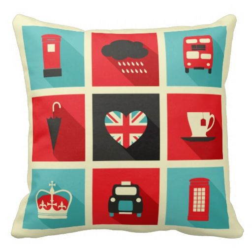 Retro London Collage Throw Pillow Decorating With Pillows