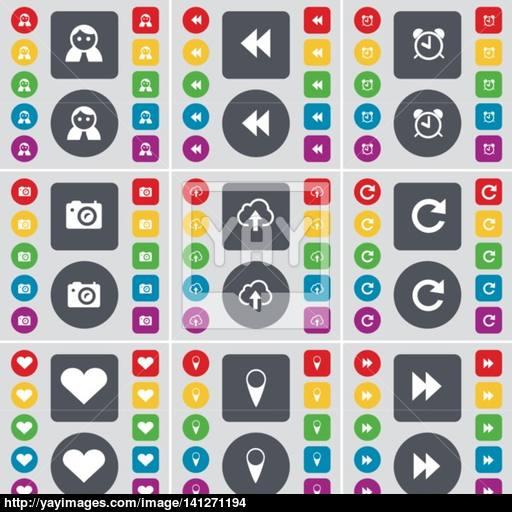 Avatar, Rewind, Alarm Clock, Camera, Cloud, Reload, Heart