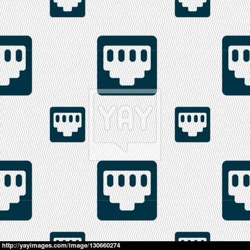 Cable Patch Cord Icon Sign Seamless Pattern With Geometric