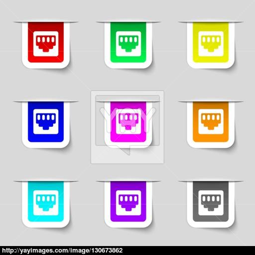 Cable Patch Cord Icon Sign Set Of Multicolored Modern