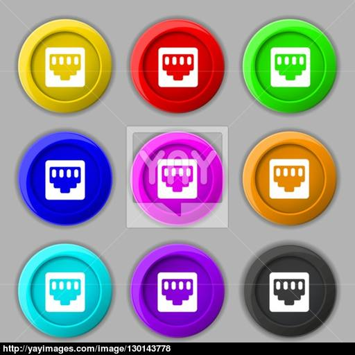 Cable Patch Cord Icon Sign Symbol On Nine Round Colourful