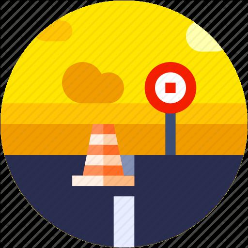 Circle, Flat Icon, Landscape, Road Icon